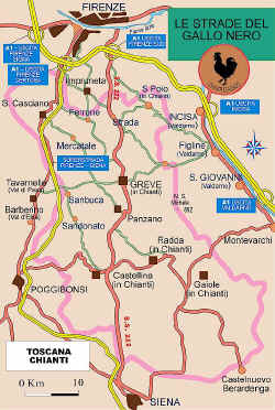 Map of the Via Chiantigana